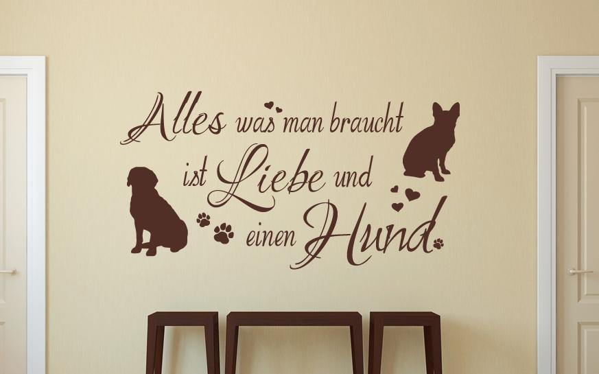 Hund Zuhause Briefkasten Wandspruch Aufkleber Haustier WandTattoo Wandaufkleber